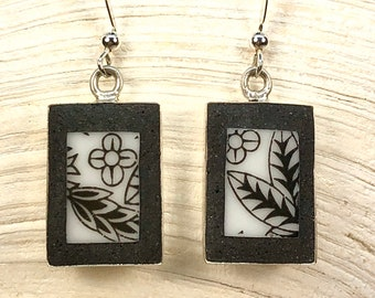 Broken China Earrings Black and White Deco   - Cracked Plate- Broken China Jewelry - Mosaic Earrings