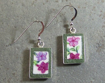 Lilac and Pink Fuscia Cracked Plate Earrings - Mosaic Jewelry