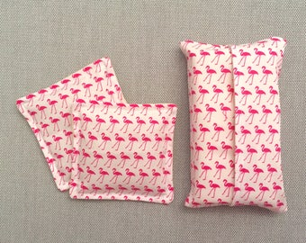 Pink flamingo hand warmer and tissue holder set