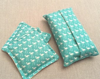 Blue flamingo hand warmer and tissue holder set