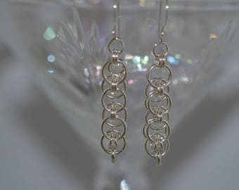 Chainmaille Hand Created Argentium Silver Earrings