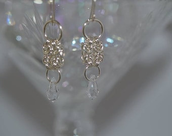 Chainmaille Hand Created Argentium Silver Earrings with Swarovski crystals and pearls