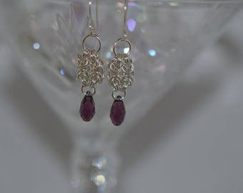 Hand Created Argentium Silver Earrings with Swarovski crystals and pearls