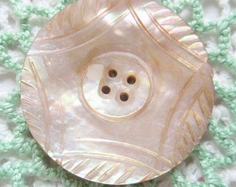 Vintage Rainbow Colors Carved Shell Button Mother of Pearl Intricate Design Medium Size Iridescent Abalone