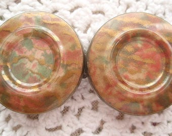 1930's Celluloid Belt Buckle Beautiful Multi Colors Green Rose Salmon Gold Vintage Clothing Dress Coat