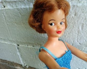 1965 Ideal Toys Company Pos'n Tammy doll T 12 Blue Glamour sparkle evening dress 12 inches tall by Jeansvintagecloset