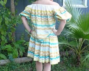 Vintage 60s Senorita Style Striped Two Piece blouse & circle skirt/Alex Colman of California/Off shoulder dancing dress Costume Medium