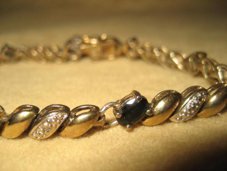 Vintage Sterling Onyx Link bracelet