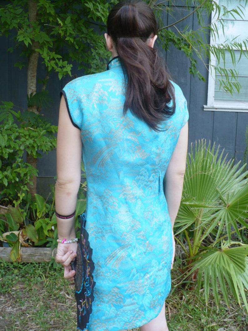 Vintage Blue Brocade Geisha Girl Cocktail dress size M by jeansvintagecloset on Etsy