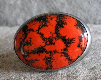 Enamel Ring - Red Enamel Ring - Red and Black Enamel Ring - Enamel Silver Ring - Enamel Jewelry - Enamel Sterling Silver Ring - US Size 6