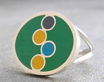 Resin Ring - Green Resin Ring - Geometric Resin Silver Ring - Colorful Bubbles Resin Ring - Resin Sterling Silver Jewelry -  US Size 7