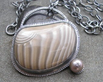 Sterling Silver and Polish Flint Pendant- The Oyster and the Pearl Necklace