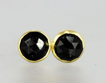 Black Garnet Studs - Black Garnet Posts - Black Garnet  18 KT Yellow Gold Studs - Rose Cut Black Gem Studs - Rose Cut Black Melanite Posts
