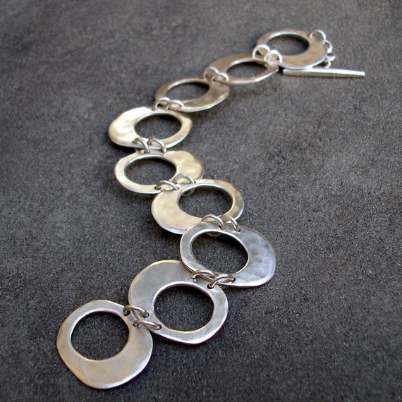 chain bracelet unusual design hamdmade in the UK matching necklace Hammered silver link bracelet silver scrolls and links