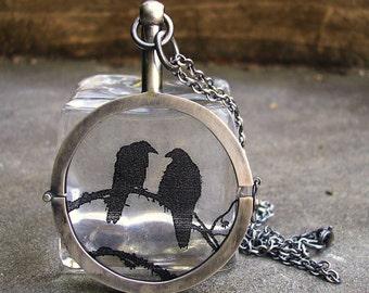 Raven Locket.   Sterling Silver Handmade.  Nevermore Locket
