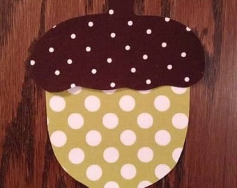 Fall Acorn Iron On Applique, Add An Initial for Free, You Choose Fabric