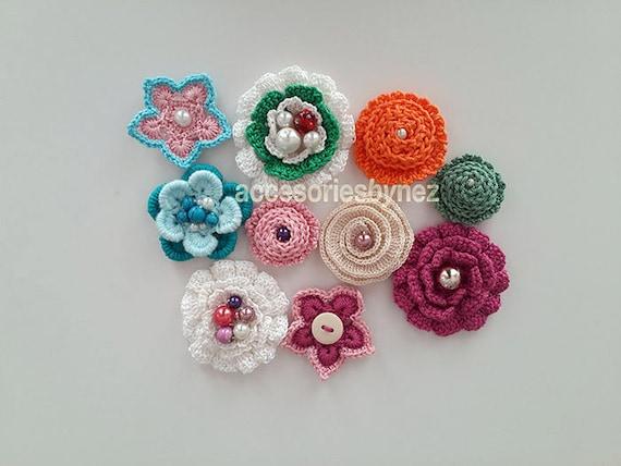Crochet Flower Patterns 5 Crochet Flowers Pattern Crochet Etsy