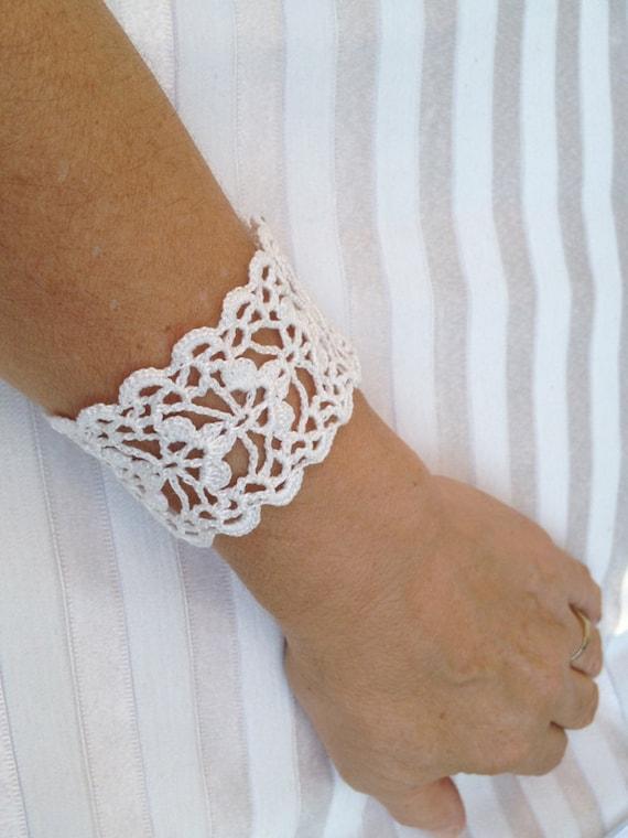 Pdf Tutorial Crochet Pattern Lace Cuff Bracelet Wedding Etsy