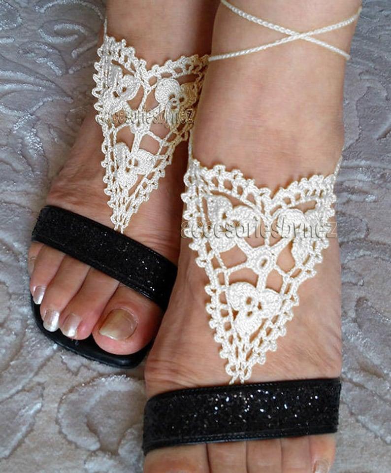 Crocheted Barefoot Sandals Pattern Crochet Patternwedding Etsy