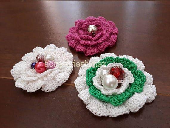 Crochet Flower Pattern Crochet Flowers Flower Applique Etsy