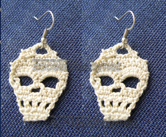 Pdf Crochet Skull Pattern Skull Earrings Tutorial Diagrams Etsy