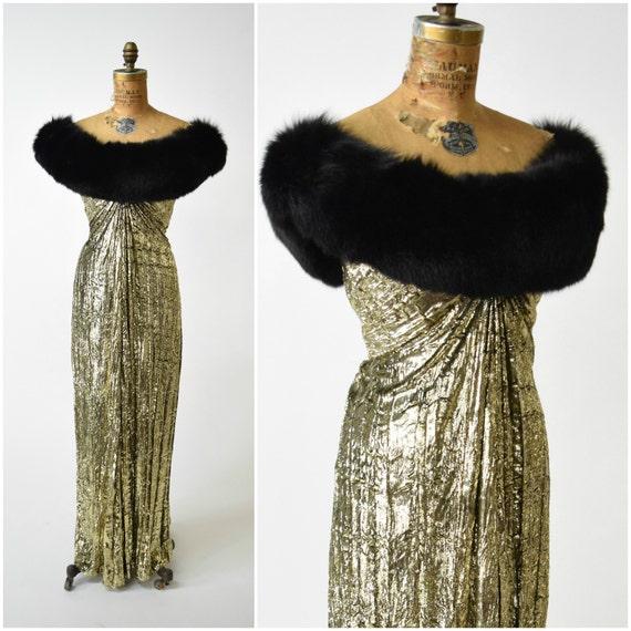 70s/80s Bob Mackie Gold Lame Draped Gown w Black Fur Collar // | Etsy