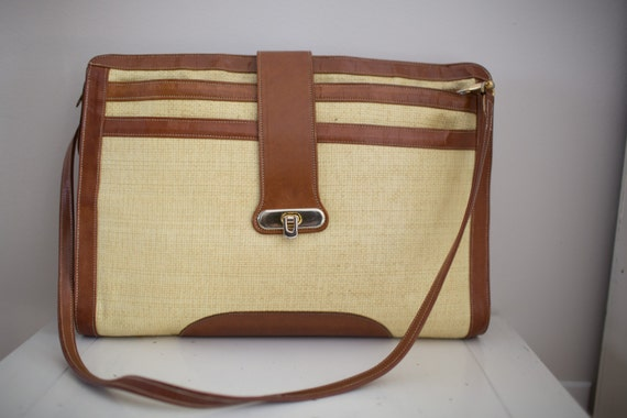 Vintage 1970's Straw and Leather Briefcase by Tuff