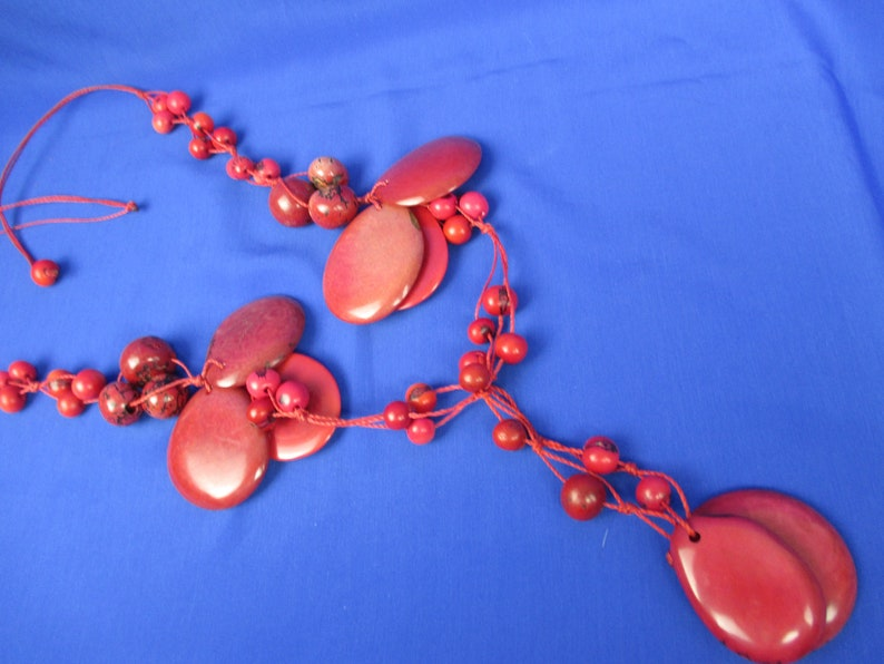 Long Red Tagua Nut /& Acai Seed String Necklace ~Vegetable Ivory Eco-Friendly Fun~Natural Sustainable ~Refashioned OOAK
