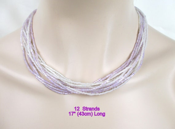 Iridescent Lilac Pink Lavender White Bugle Glass &