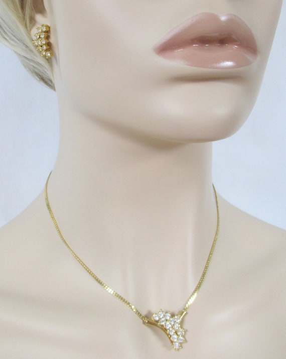 AVON ~Vtg Set Cascading Waterfall Gold Tone Clear Rhinestone Choker Necklace /& Post Earrings  Cocktail Collection Excellent Jewelry  1989