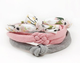 Skinny Knotted Headbands, Newborn Headband Set, Baby Girl Headband, Baby Bow, Baby Knot Headband