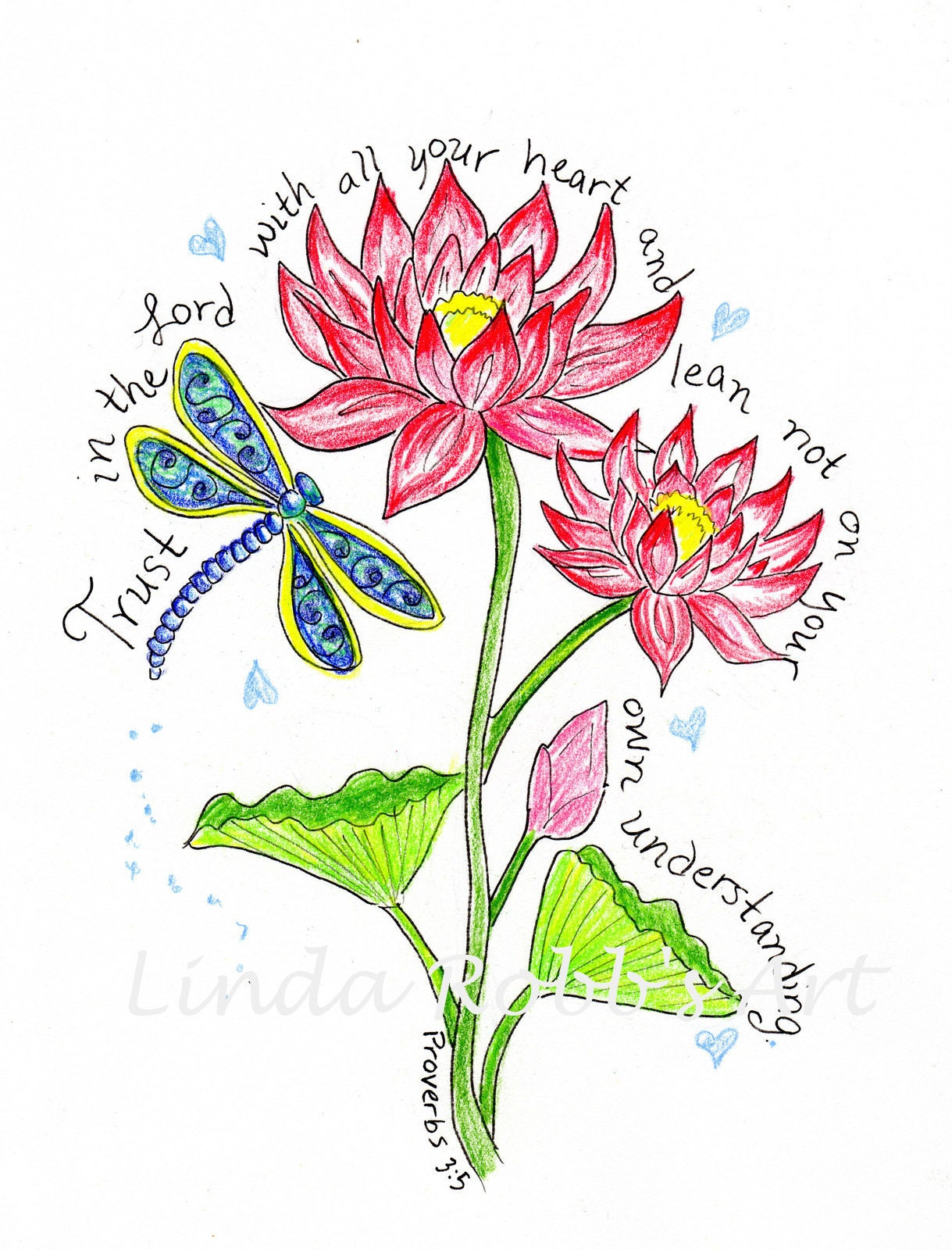 Lotus Flower And Dragonfly Scripture Design Digital Download Etsy