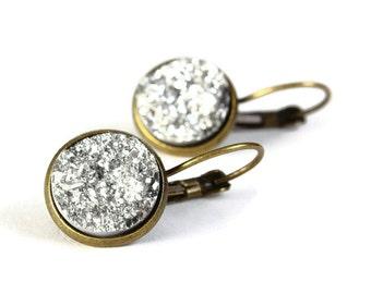 Antique brass silver dangle drop earrings - Faux Druzy earrings - Textured earrings - Lead free Nickel free (774) earrings