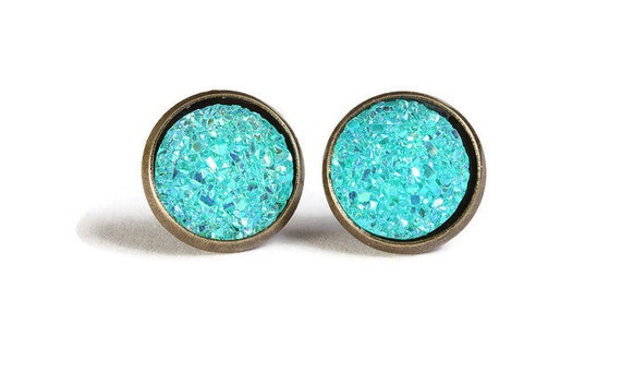 Blue green textured stud earrings - Faux Druzy earrings - Textured earrings - Post earrings - Nickel free - lead free - cadmium free (833)