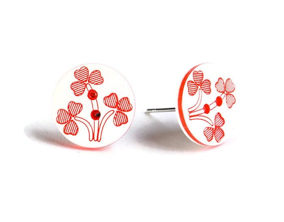 Petite red and white flower button hypoallergenic stud earrings (757)