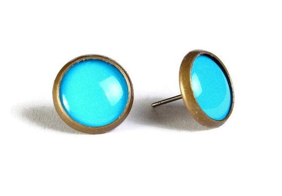 Blue hypoallergenic stud earrings (510)