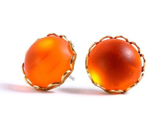 Matte frost orange hypoallergenic surgical steel post earrings READY to ship (405)
