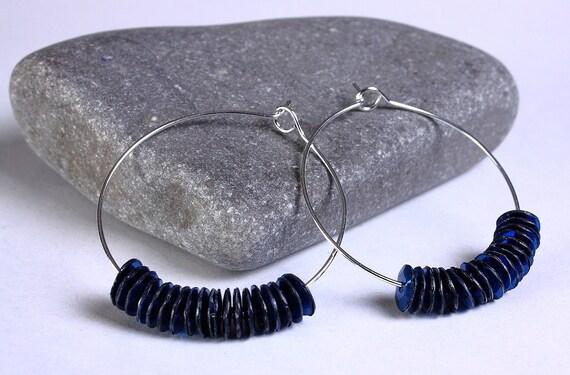 Blue sequins hoop earrings (636)