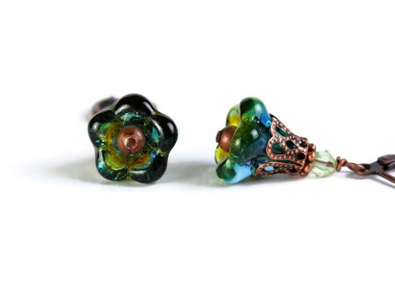 Olive capri yellow blue glass bell trumpet flower earrings READY to ship (293)