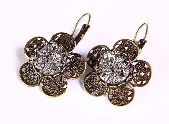 earrings - Antique brass flower black and silver faux dusy leverback dangle earrings - Faux druzy earrings (812)