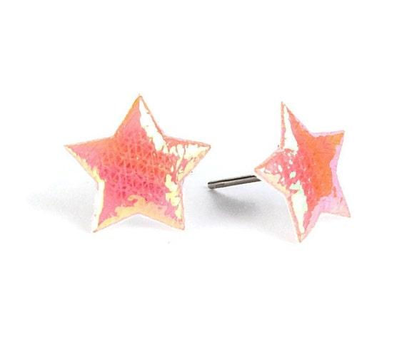 Peach orange shiny iridescent star fabric hypoallergenic stud earrings (399)