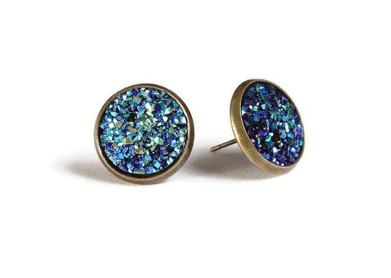 Blue green textured stud earrings - Faux Druzy earrings - Textured earrings - Post earrings - Nickel free - lead free - cadmium free (827)