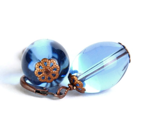 Blue crystal glass oval antique copper leverback earrings (382)