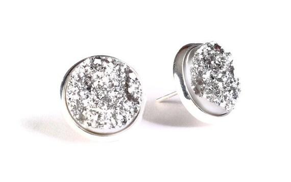 Silver textured stud earrings - Faux Druzy earrings - Post earrings - Nickel free earrings (787)