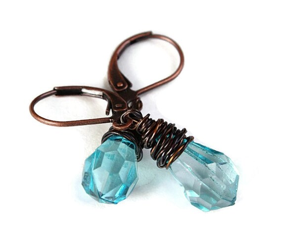 Aqua blue briolette and antique copper leverback earrings (218)