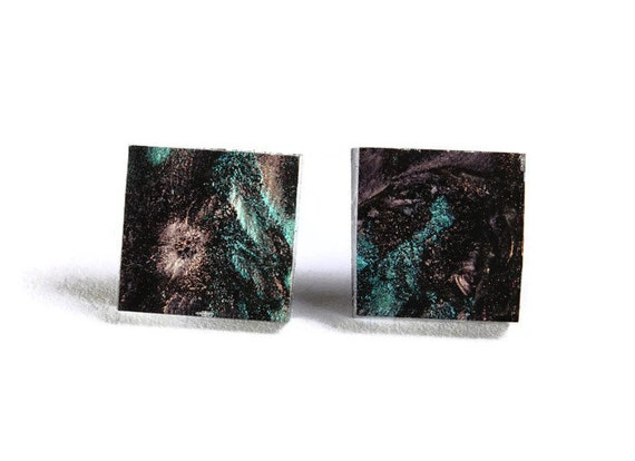 Green copper champagne glass square stud post earrings (709)