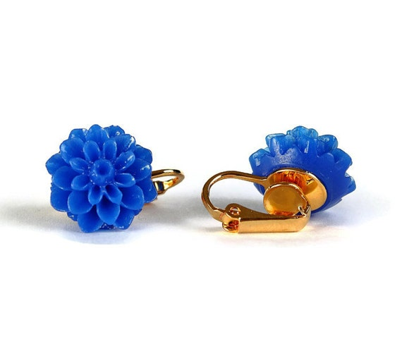 Cobalt blue chrysanthemum flower gold plated clip on earrings READY to ship (341)