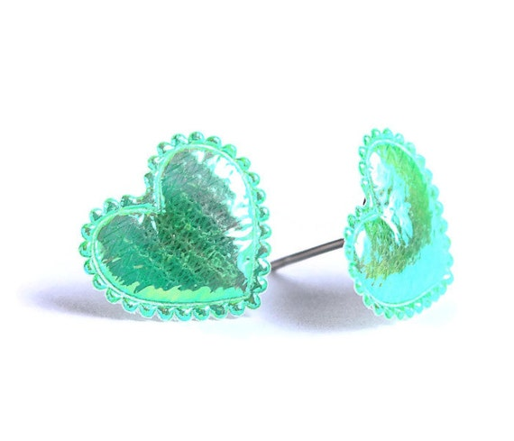 Green emerald shiny iridescent heart fabric hypoallergenic stud earrings READY to ship (346)