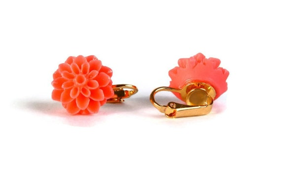 Salmon flower and gold plated clip on earrings READY to ship (291)