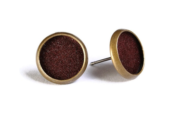 Brown velvet hypoallergenic stud earrings (494)